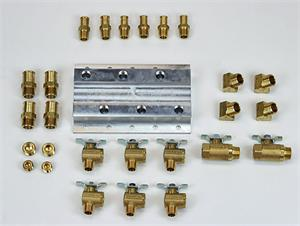 Coolant Distribution Manifold - Common Rail 3 Port Manifold With Fittings for a Kenworth-Peterbilt-Freightliner